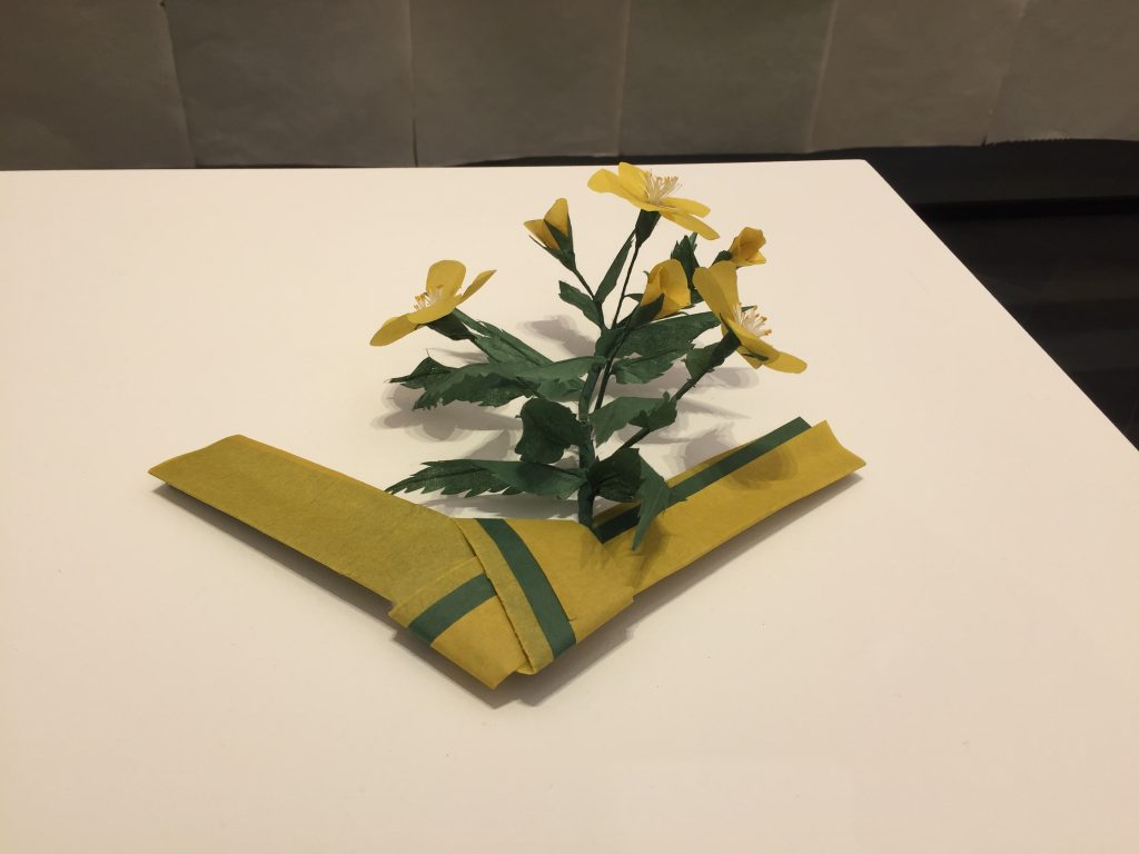 A traditional Japanese love letter, with accompanying flowers